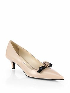 Prada Rose+Bow+Leather+Pumps