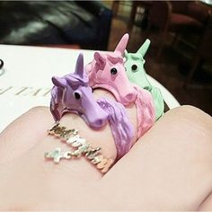 2015 Korean Lovely Candy Color Unicorn Finger Ring Enamel Horse Party Rings For Women Fashion Jewelry Cavalo Christmas Gift - Body jewelry Collection Grunge, Horse Ring, Horse Head, Pastel Candy, Color Caramelo, Horse Party, Purple Unicorn, Horse Jewelry, Party Rings