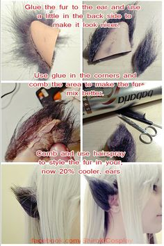 """Here is a simple """"tutorial"""" about furried ears :D I'm currently working on Cerise Wolf's costume, and today I did the wolf ears. If you have any questions don't be shy and ask me ;3 My facebook:..."""