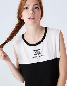Bershka España - Camiseta Bershka sin mangas bicolor