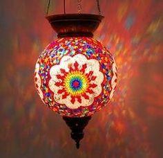 Turkish Handmade Multicolor Hanging Glass Mosaic Lamp
