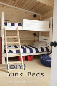 DIY Furniture ~ Land of Nod Knock Off Bunk Beds {with free woodworking plans from Ana White} (Beginner Woodworking Ana White) Bunk Beds With Stairs, Cool Bunk Beds, Kids Bunk Beds, Loft Bed Plans, Murphy Bed Plans, Toddler Loft Beds, Surf Shack, Loft Spaces, Diy Bed