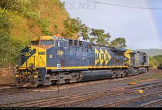 (AC44i ).   MRS  #7217 (Brazil) .   G.E. locomotive.  (AAR) C-C,  G.E. FDL 12 engine, .4,500 H.P..  Manufactured in Brazil for MRS.