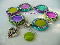 Bracelet of bead-bezelled cabochons by Madame Bijou