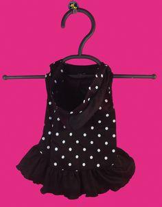 Black & white polka dot hooded doggy dress