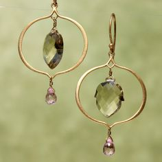 chandelier earrings in 24k vermeil with champagne quartz and pink quartz
