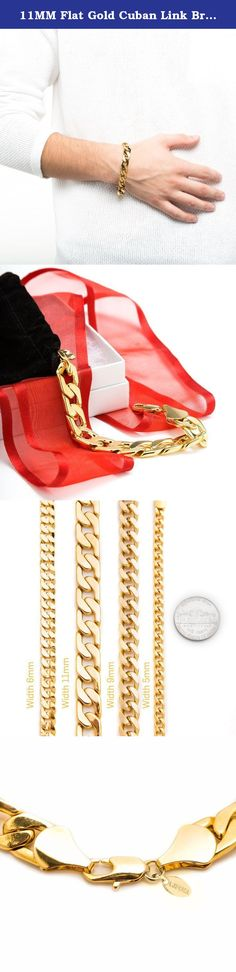 """11MM Flat Gold Cuban Link Bracelet, Stunning 24K Thick, Hip Hop, Fashion Jewelry For Men, Tarnish-Resistant, Looks and Feels Solid, Guaranteed for Life, Made in USA by Lifetime Jewelry, 9 Inches. Why Lifetime Jewelry? Because You Deserve It! Exclusive Gold Chain Necklace made in USA from real 24 Karat gold laid over a heart of semi-precious metals. Cuban Link Chain Bracelet 11mm 8""""-9"""" from the makers of the best lifetime guaranteed fashion jewelry you can buy since 1978. Sold for a…"""