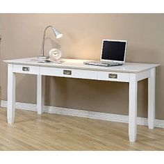 @Overstock.com - White Writing Desk - Add a stylish new element to any room with this contemporary white writing desk. This handsome desk is crafted from rubber wood and features a sleek, elegant finish with two drawers for holding writing essentials or other belongings.  http://www.overstock.com/Home-Garden/White-Writing-Desk/3245717/product.html?CID=214117 $329.99