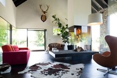 Old Farmhouse Converted Into Contemporary Family House – Farmhouse - The Great Inspiration for Your Building Design - Home, Building, Furniture and Interior Design Ideas Living Room Modern, Living Room Designs, Living Spaces, Living Rooms, Open Floor House Plans, Interior Architecture, Interior Design, Residential Architecture, Contemporary Sofa
