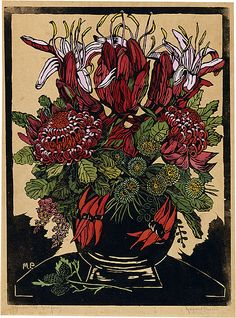 Margaret PRESTON Illawarra lilies and waratahs, 1929 relief woodcut, printed in black ink, from one block; hand-coloured