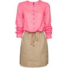 Combi-Dress (1.460 RUB) ❤ liked on Polyvore featuring dresses, vestidos, pink, tops, drawstring dress, mango dresses, elastic waist dress, pink long sleeve dress and long sleeve dress