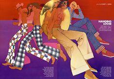 Bob Peak illustrates an early Seventies Playboy fashion feature on summer slacks.