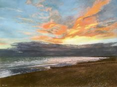 St Leonards Sunset by Nigel Wade - Win vouchers worth from Winsor & Newton in our Calendar Challenge - February 2020 Online Gallery, Art Gallery, Local Art Galleries, Grey Clouds, Hyperrealism, Love Painting, Learn To Paint, Art And Architecture, Sky