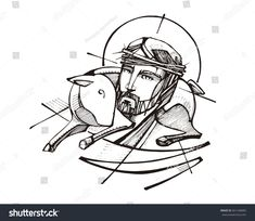 Hand drawn vector illustration or drawing of Jesus Christ and a sheep Bible Pictures, Jesus Pictures, Jesus Drawings, Sheep Vector, Church Logo, Christ Is Risen, Free Hand Drawing, Illustration, Drawing Lessons