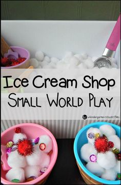 """Make a play ice cream shop that your kids will love! Includes a free printable """"order form"""" to play with! Invitation to play. Everyone loves ice cream in summer Play Ice Cream, Ice Cream Theme, Ice Play, Dramatic Play Area, Dramatic Play Centers, Preschool Dramatic Play, Sensory Table, Sensory Play, Toddler Sensory Bins"""