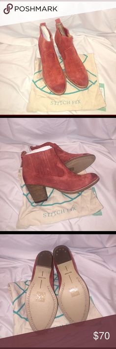 "Dolce Vita Rust Color Western Ankle Boots NWT Dolce Vita Rust Color Western Ankle Boots NWT. Traditional rustic western style in rust suede, easy pull on with elastic in the sides, heel tab, pointed toe, solid bottom with stitching, 3"" stacked wood heel. Dolce Vita Shoes Ankle Boots & Booties"