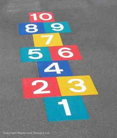 Hopscotch, an oldie but a goodie! A fun way to teach children number while keeping them active