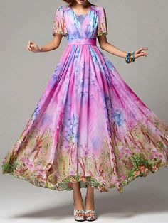 Stylewe beautiful floral maxi dress; pastel, pink and blue dress