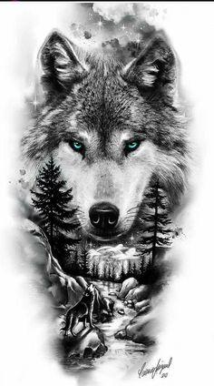Lion Tattoo Sleeves, Nature Tattoo Sleeve, Wolf Tattoo Sleeve, Sleeve Tattoos, Wolf Tattoo Design, Tattoo Design Drawings, Tattoo Sleeve Designs, Bild Tattoos, Leg Tattoos