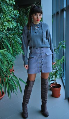 grey total look: #laceupskirt and laceupsweater in one outfit with #overthekneeboots more: https://jointyicroissanty.blogspot.com/2016/12/lace-up-sweater.html