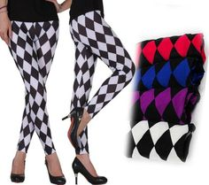 New sexy CHECKERED diamond print leggings stretchy pants 4 colors 1 pcs