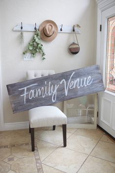 """Graywash stained reclaimed wood as hand painted """"Family Venue"""" Sign. Custom signs for home and business decor - choose your size and stain color. Custom Signs For Home, Home Signs, Wood Windows, Old Barns, Weathered Wood, Stain Colors, Old Houses, Wedding Signs, Hand Painted"""