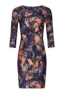 Modré šaty s listy Smashed Lemon Alessia Lemon