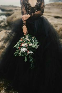 A moody coastal elopement on Cape Kiwanda with a black lace dress and waves  crashing in the background by Mari Sabra Photography and Rose   Stone Black  ... d79f207bc1f