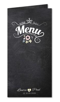 menu mariage ardoise et arabesques en fleurs
