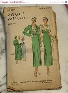 Summer Sewing Sale RARE Vogue 6335 Vintage by EleanorMeriwether, $44.80