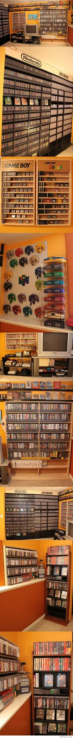 El paraíso de los juegos de Nintendo 😱 This is one of the most beautiful things I have ever seen. Also I wish I was this rich. Arcade, Viewtiful Joe, Nintendo Game, Nintendo Room, Nintendo Switch, Nerd Cave, Man Cave, Pokemon, Gamer Room