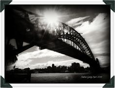 Sydney Harbour Bridge, NSW, Australia. Black and White. Photograph by Andrea George using a Nikon Coolpix P520