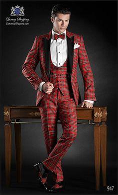 Traje de novio tartán de pura lana rojo.