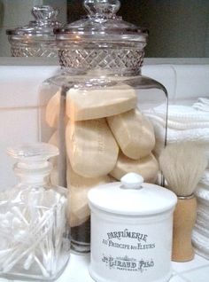 Store Soap, Qtips etc in a jar ~ This is how I have always stored my hand Soaps and Q-tips ~ Love