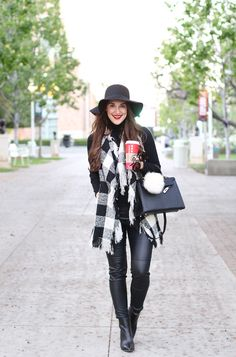Black Leather Leggings, Turtleneck, Loose Vest