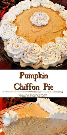 Pumpkin, spices, and whipped cream combine to make this light fluffy and decadent Pumpkin Chiffon Pie.so scrumptious it will melt in your mouth.and have you pondering over just one more slice! The perfect Thanksgiving or Christmas dessert. Pumpkin Pie Recipes, Pumpkin Cheesecake, Fall Recipes, Baby Food Recipes, Gourmet Recipes, Holiday Recipes, Dessert Recipes, Thanksgiving Desserts, Christmas Desserts