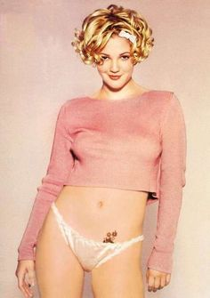 Drew Barrymore in the 90s wearing lingerie. Our icon! (if it's my hair)