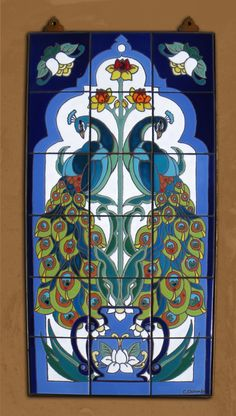 Hand Glazed Tile Mural Arabesque Peacock. $500.00, via Etsy.