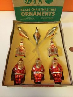 VINTAGE SHINY BRITE CHRISTMAS ORNAMENTS SANTA CHURCH BIRDS W/BOX