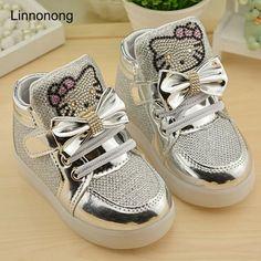 6706e14b04f9e Spring Autumn Children s Sneakers Kids Shoes For Girls Toddler Shoes LED  Light Chaussure Enfant Luminous Sneakers tenis infantil