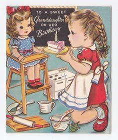 Vintage Greeting Card Cute LIttle Girl Babydoll Doll Highchair Birthday Cake