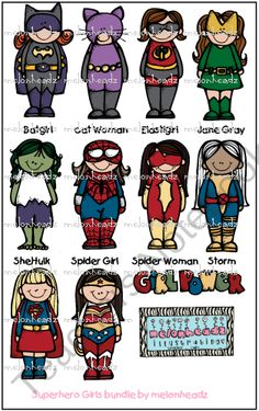 Superhero girls bundle from Melonheadz Illustrations on TeachersNotebook.com (11 pages)  - Everybody's a SuPeRhErO!