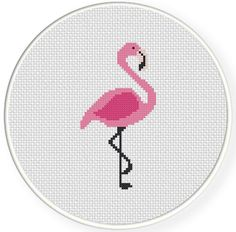 Pink Flamingo PDF Cross Stitch Pattern van DailyCrossStitch op Etsy