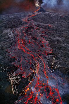 Lava flow near Pu'u 'O'o creater (aerial), Hawaii Volcanoes National Park, Hawaii, USA