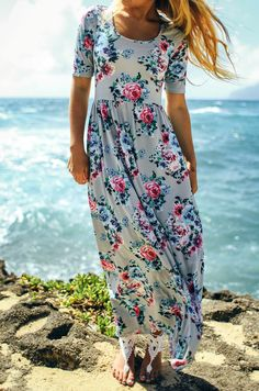 We are so excited about our gorgeous new floral maxi dresses! These are the definition of quality and comfort, featuring a back zipper that goes through the waist and short sleeves that give the perfe
