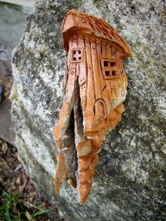Bark Carving Lighthouse   Fairy House Hand Carved from Cottonwood Bark - Small Wonder