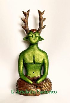 Statuette of god Cernunnos by L' Artefatto Esoterico Pagan Gods, Celtic Mythology, Altar Decorations, Book Of Kells, Mother Goddess, Triple Goddess, Celtic Art, Wiccan, Witchcraft