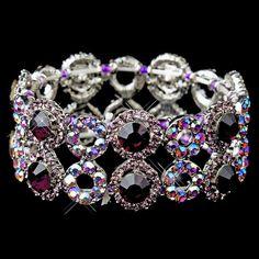 Silver Amethyst & AB Crystal Bridal Stretch Bracelet 8658