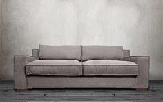 Ultra Comfortable Linen Fabric Wide Track Arm Large Capri Style Sofa, Light Grey