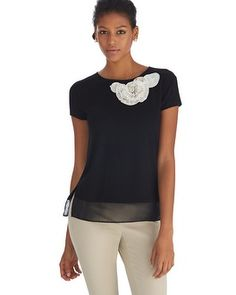 Floral Embellished Boxy Black Tee from White House Black Market - soft, fitted and just a little drape at the hip. Wear with just about anything!
